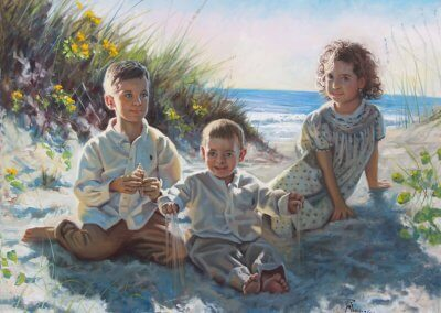 children on beach portrait