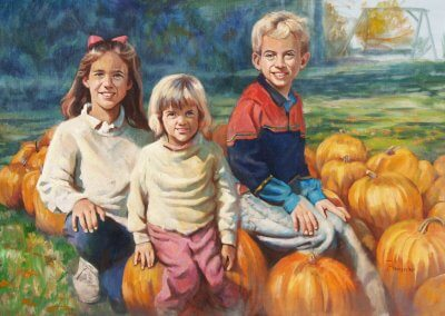 kids with punkins portrait