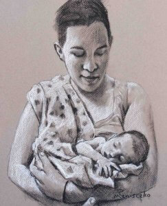 "Baby/Parent Charcoal sketches (with Conte) 9"" x 12"""